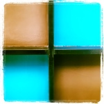 The ceiling is checkered turquoise & brown