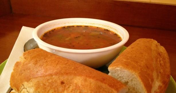 Tomatoe, eggplant, zucchini soup Foumagerie